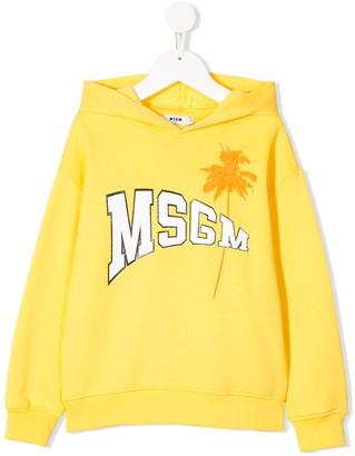 Msgm Kids Long Sleeve Palm Tree Logo Hoodie