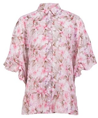 Dorothy Perkins Womens *Blue Vanilla Pink Floral Print Frill Hem Shirt, Pink