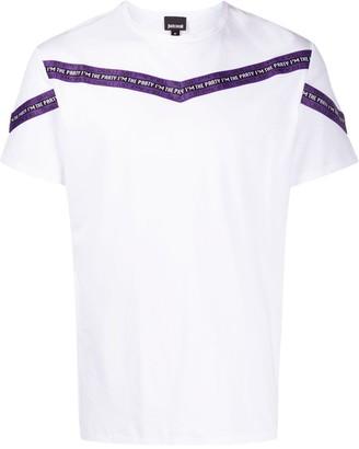 Just Cavalli striped logo-print T-shirt
