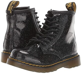 Dr. Martens Kid's Collection 1460 Patent Glitter Infant Brooklee Boot (Toddler) (Black Coated Glitter) Girls Shoes