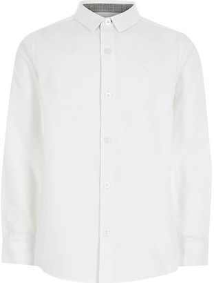 River Island Boys white long sleeve R shirt