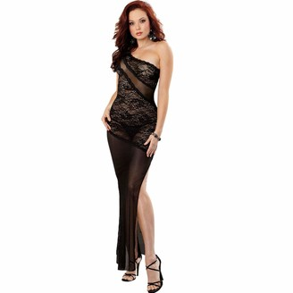 Dreamgirl Women's Sultry Stretch Lace Asymmetrical Gown with Sexy Sheer Mesh Diagonal Insets and Matching Thong Black