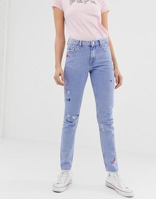 Pepe Jeans Heidi scribble boyfriend jeans-Blue