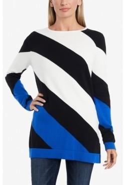 Vince Camuto Women's Color Block Asymmetrical Stripe Sweater
