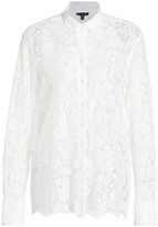ATM Anthony Thomas Melillo Floral Lace Sheer Panel Shirt