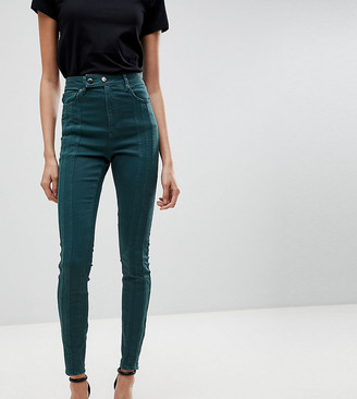 Asos TALL RIDLEY High Waist Skinny Jean With Front Seam Detail And Extended button tab In Dark Forest Green