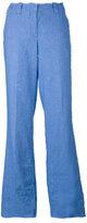 Dondup wide leg raw trousers - women - Cotton/Linen/Flax/Spandex/Elastane - 42