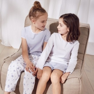 The White Company Floral & Stripe Pyjamas Set of 2 (1-12yrs), White Blue, 7-8yrs