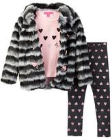 Betsey Johnson Faux Fur Jacket, Tee, & Legging Set (Toddler Girls)