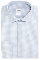 Armani Collezioni Modern Fit Shadow-Check Dress Shirt, White/Blue