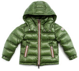 Moncler Green Puffer Jacket with Stripe Placket, Sizes 2-6