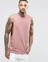 Asos Sleeveless T-Shirt With Extreme Dropped Armhole In Pink