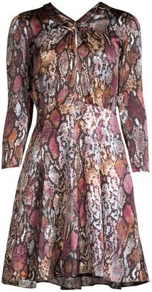 Rebecca Taylor Met Python Print Silk Mini Dress