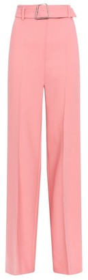 Akris Floriane Wool Wide-Leg Belted Trousers