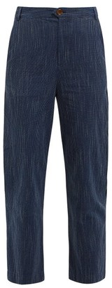 MiH Jeans Daxton Pick Stitch Cotton Trousers - Womens - Navy