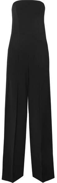 Halston Strapless Pleated Crepe Jumpsuit - Black