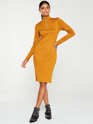 Very Ribbed Zip Front Dress -Mustard
