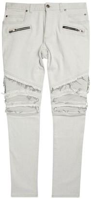 Balmain Distressed Ribbed Slim Jeans
