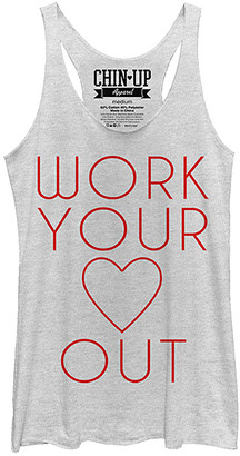 Chin Up Apparel Women's Tank Tops WHITE - Heather White 'Work Your Heart Out' Flowy Tank - Women