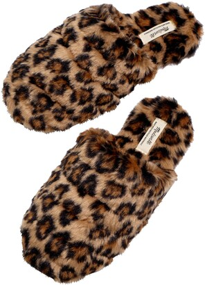 Madewell Leopard Recycled Faux Fur Quilted Scuff Slippers