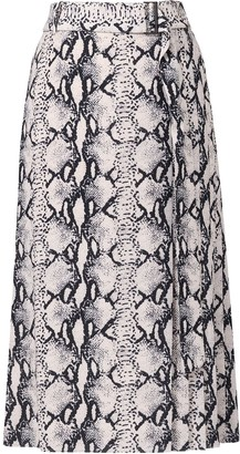 Jason Wu Snakeskin-Print Wrap Silk Skirt