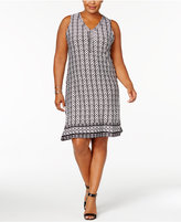 NY Collection Petite Plus Size Printed Studded Dress, Created for Macy's
