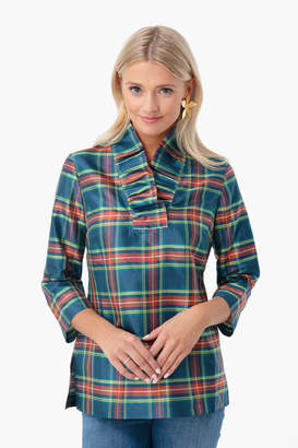 Devon Baer Stewart Plaid Silk Ruffle Tunic