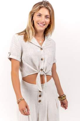 francesca's Willow Button Crop Top - Sand