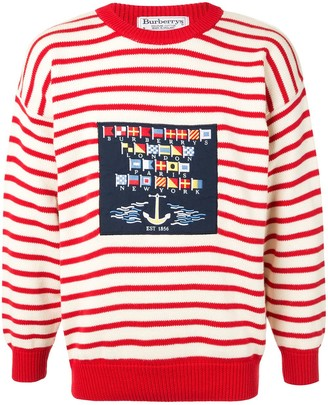 Burberry Pre Owned Striped Long Sleeve Knit Jumper