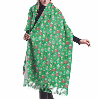 Leyhjai Hot Winter Christmas Drinks With Marshmallows On Green Tiny Shawl Wrap Winter Warm Scarf Cape Large Soft Cozy Cashmere Scarf Wrap Womans Warm Shawl Stole