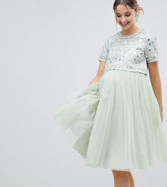 Asos embellished crop top tulle midi dress-Green