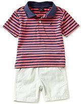 Nautica Baby Boys 12-24 Months Striped Short-Sleeve Polo Shirt & Pull-On Shorts Set