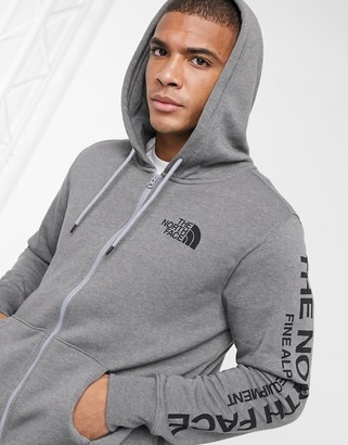 The North Face Brand Proud full zip hoodie in gray