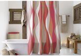 Crate & Barrel Italian Seersucker Coral Shower Curtain