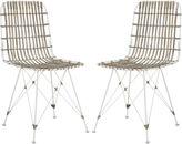 Safavieh Rae Whitewash Wicker Side Chairs, Pair