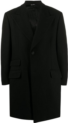 Versace Pre Owned 1990s Peaked Lapels Thigh-Length Coat