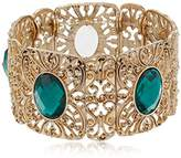 1928 Jewelry Gold-Tone Emerald Green Color Wide Filigree Stretch Bracelet