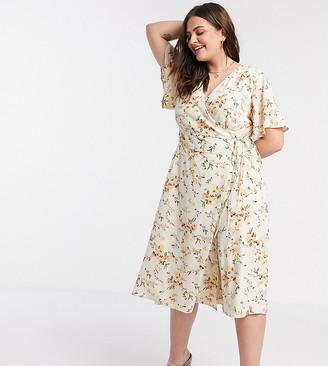 Vero Moda Curve wrap midi dress in cream floral