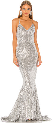 Norma Kamali Sequin Mermaid Fishtail Gown