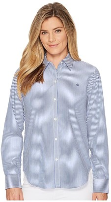 Lauren Ralph Lauren Striped Cotton Shirt (Blue/White) Women's T Shirt