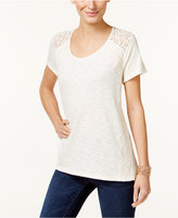 Style&Co. Style & Co. Lace-Trim High-Low Top, Only at Macy's