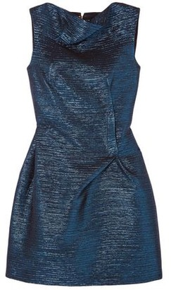 Roland Mouret Zonda Metallic Woven Mini Dress