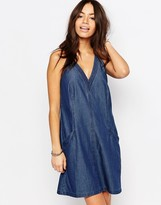 Esprit V Neck Denim Smock Dress