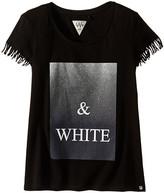 Ikks Graphic T-Shirt with Fringe Sleeves & Metallic Graphic Detail (Big Kids)