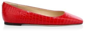 Jimmy Choo Mirellle Croc-Embossed Leather Flats