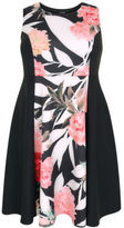 Yours Clothing YoursClothing Plus Size Womens Floral Mono Panel Sleeveless Skater Dress