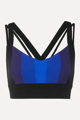 NO KA 'OI NO KA'OI - Ascent Striped Stretch Sports Bra - Blue