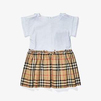 BURBERRY KIDS Rhonda Check Dress (Infant/Toddler/Little Kids/Big Kids) (White) Girl's Clothing