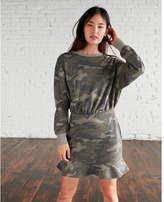 Express one eleven camo ruffle hem sweatshirt dress