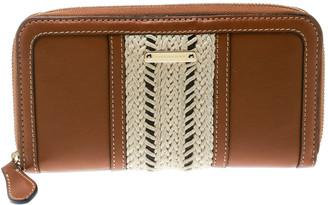 Burberry Brown Leather Zip Around Wallet